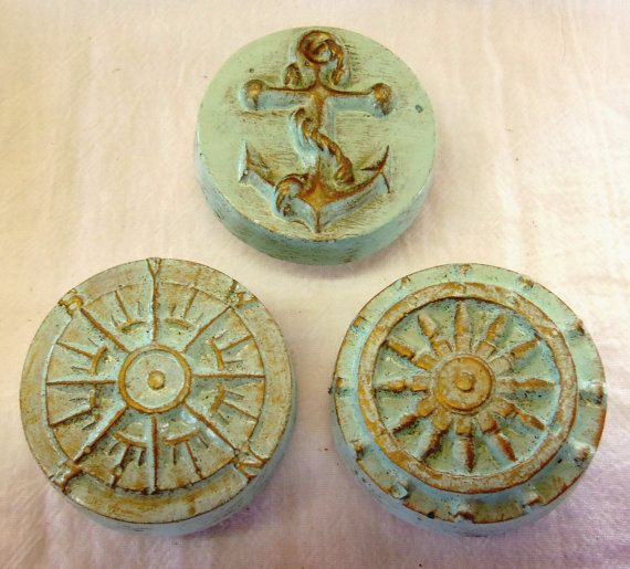 Nautical Drawer Pulls Doorknobs Knobs Anchor Ships Wheel Compass Rose Pale  Sea Green Set Of 3