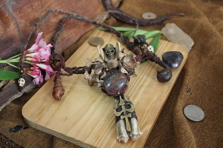 Witch talisman necklace | Macrame, Dog Bones, Blood stone, Goat tooth, Brass Ornaments, Shells and roots.  Find me on: fb.me/pinsfeathers