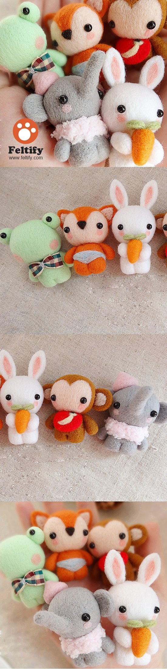 Needle Wool Felted Felting Animals Cute Bunny Fox Craft
