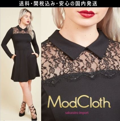 ★モドクロス modcloth 結婚式 花柄 レース 襟付き ワンピース ドレス 2016 レトロ ファッション テイラースイフト
