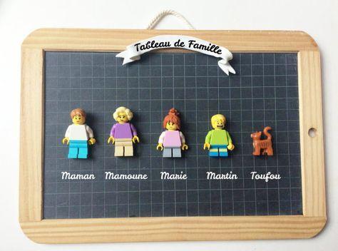 Famille Légo - Portrait de famille Personnalisé - Idée Cadeau fête des mères - Maman - Cadre photo - Fait-Main - Made in France