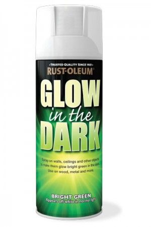 Rust-Oleum's Glow In The Dark spray paint can be sprayed onto walls, ceilings and other objects to make them glow bright green in the dark after exposure to light. (Color appears off white in normal light.) Apply to wood, metal, plastic and more Suitable for indoor and outdoor use