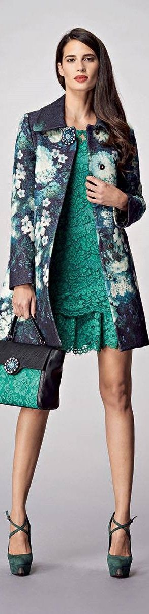 Anna Rachele FW-15/16: green lace dress, matching handbag, floral coat.