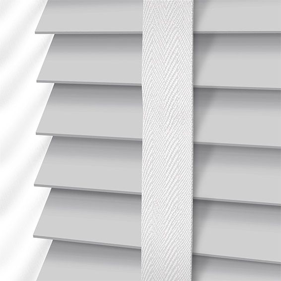 Pearl Grey & White Wooden Blind with Tapes - 50mm Slat