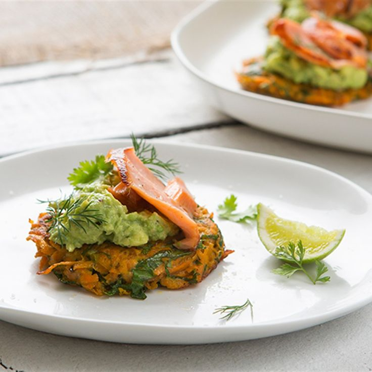 Try this Sweet potato fritters with smashed avocado and salmon recipe by Chef Maggie Beer.