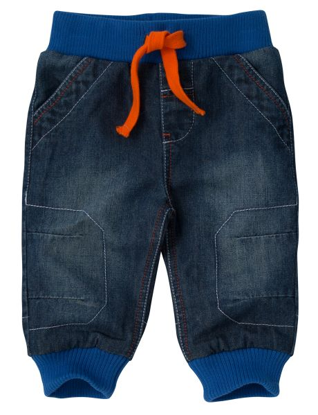 Cool and comfy, these fully-lined denim pants are a great addition to his wardrobe. The elasticated waistband is ribbed and has a drawstring, while there are pockets on the side and back.