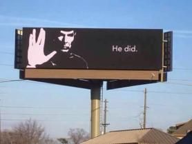 Live Long and Prosper billboard ~ Leonard Nimoy tribute 2015