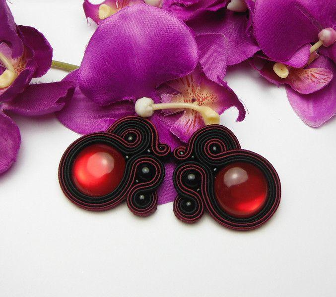 Chandeliers - Burgunder rot weinrot Ohrringe Soutache - ein Designerstück von Soutacheria bei DaWanda