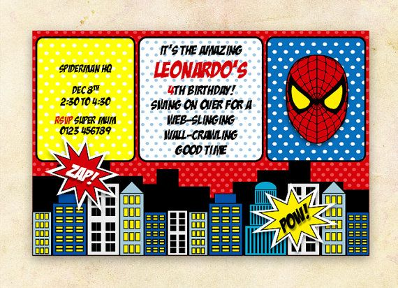 Spiderman party invitation by klikidesigns on etsy boys bday spiderman party invitation by klikidesigns on etsy boys bday parties pinterest spiderman party invitations and spider man party solutioingenieria Gallery