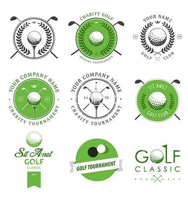 Set di etichette club di golf e gli emblemi vettore
