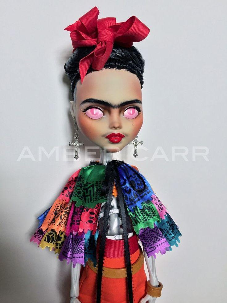 "28"" Monster High Doll Repaint Frida Kahlo Face Up OOAK BJD La Columna Rota #MonsterHigh"