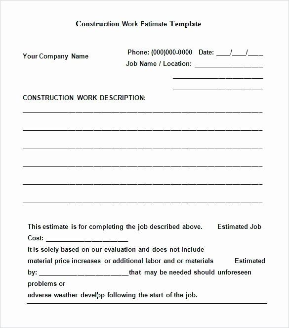 Contract For Construction Work Template In 2020 Estimate
