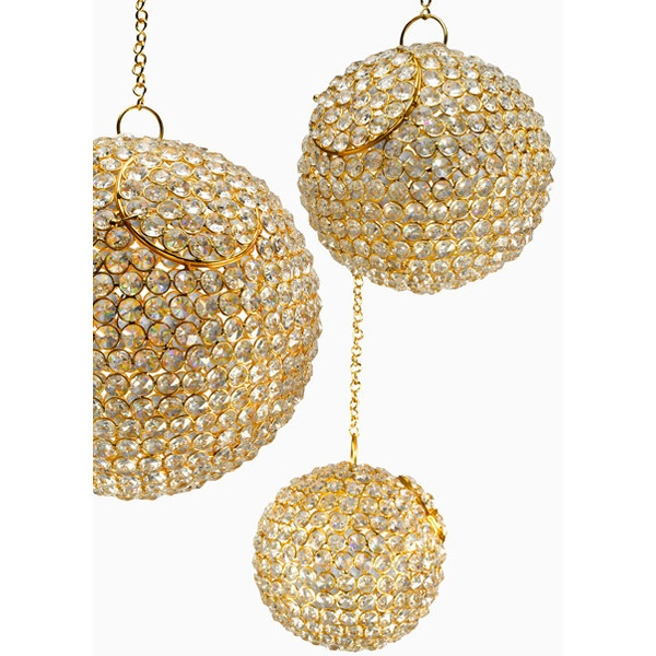 Hanging Gold Clear Crystal Balls Sparkling Wedding Event Decorations ($36) ❤ liked on Polyvore