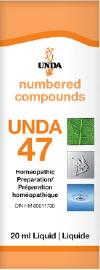 Unda 47 Congestive & Cerebral Spasms It is indicated for conditions such as vertigo, cerebral weakness, epilepsy, and hereditary nervous illnesses. Unda 47 has an action on the central nervous system.