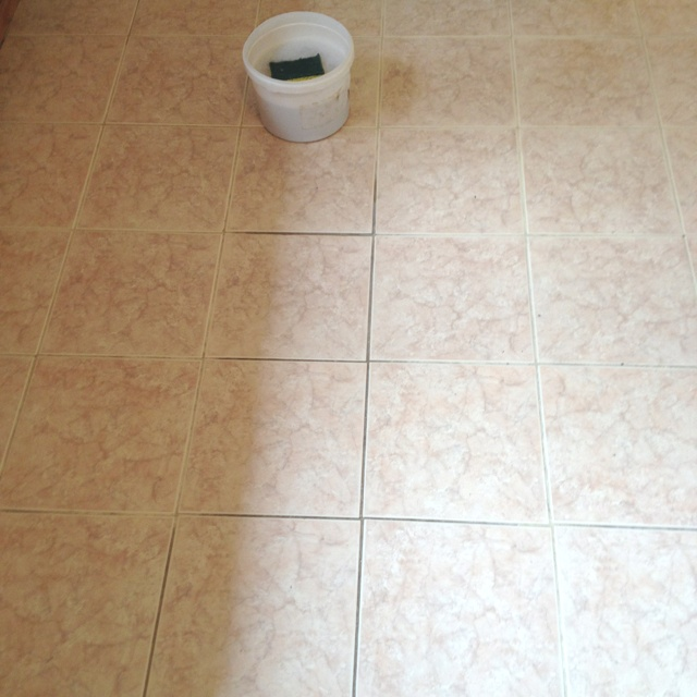 Just recently moved into a new apartment with filthy floors! Get that tile grout clean with a homemade solution of dish detergent, baking soda, fresh lemon, and hot water!