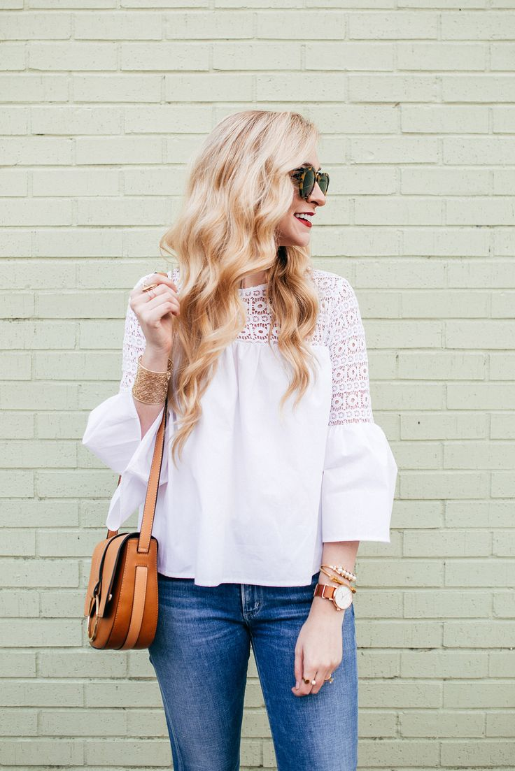 Crisp White Bell Sleeve Top | A Round Up of the BEST White Wardrobe Staples