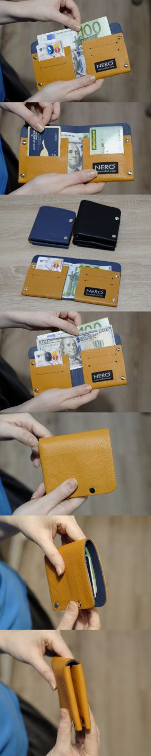 NERO Bifold Wallet - Minimalist Wallet, Mens Wallet, Leather Wallet, Slim Womens Wallet, RFID Blocking - Double Face Reversible Colors by NeroWallet on Etsy
