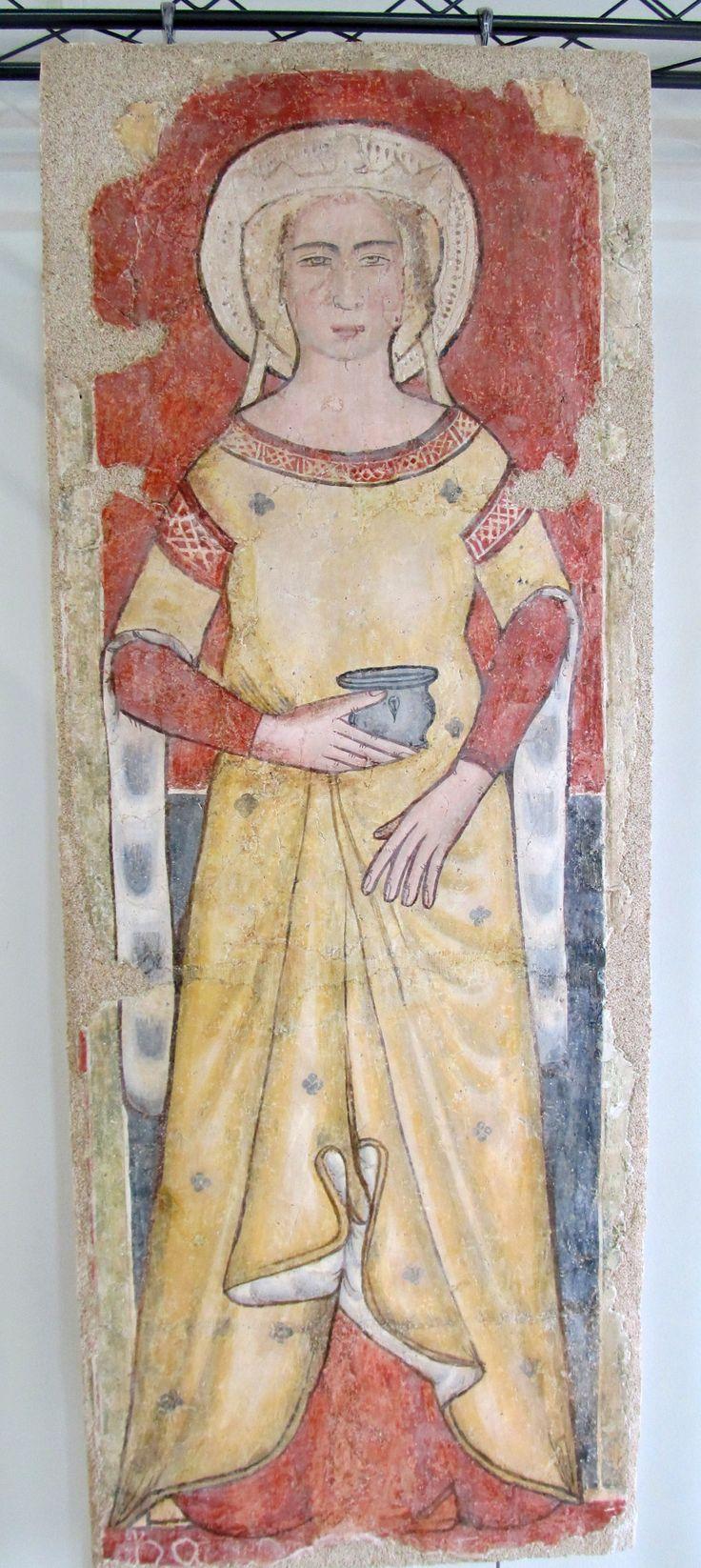 St Elizabeth of Hungary fresco in the Chiesa di S. Pietro ad Alba Fucens, c. 1350; Abruzzo, Italy