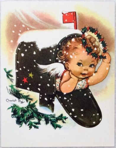 #1711 50s Crestwick Charlot BYJ Angel in Mailbox-Vintage Christmas Card-Greeting