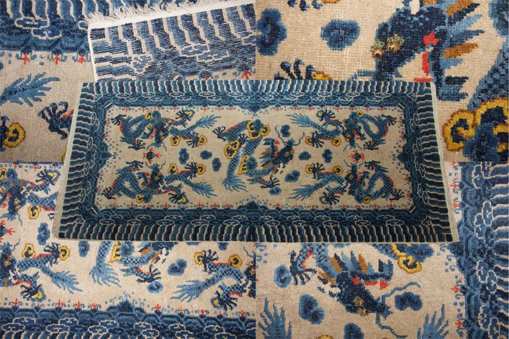 Fabulous #antique #chinese #rug circa 1920 with sinuous dragons in eye-catching #colours.