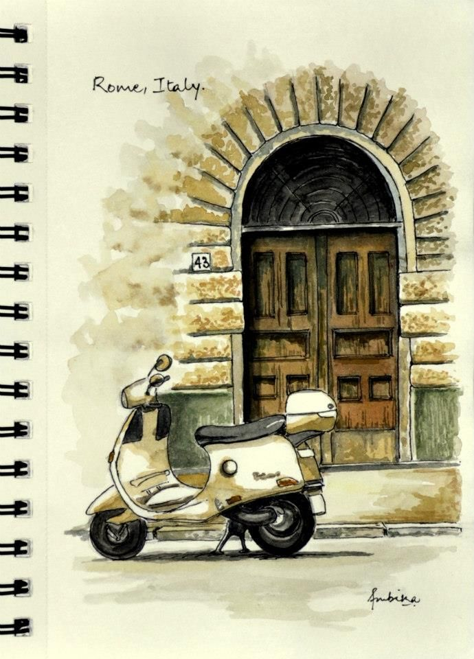 Watercolor sketch Rome, Italy