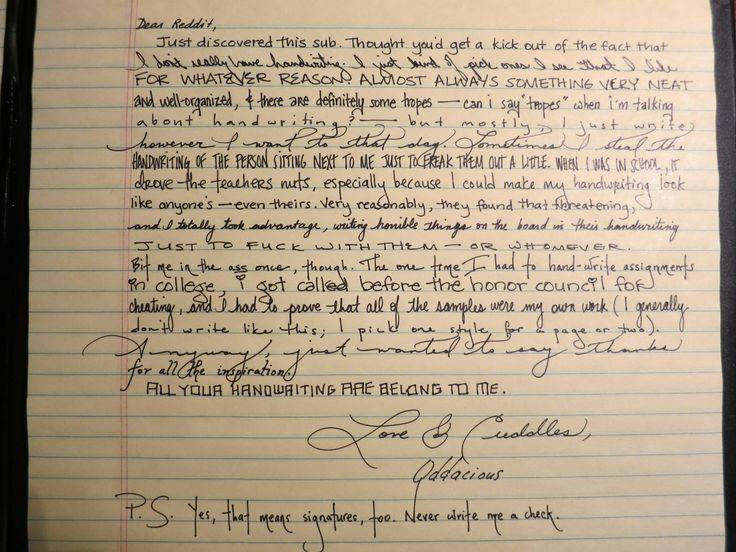 Dear reddit handwriting really random and cool