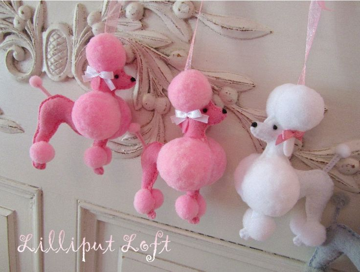 Fifi the French Poodle - made of felt and pom poms