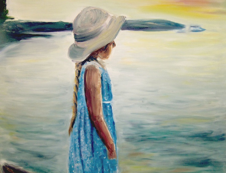 "Title: Ocean Gaze  Media: Oil on Canvas  Size: 16"" x 20""  Artist: Tina Winterlik aka Zipolita  Price: $300"