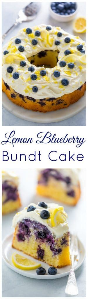 The BEST Lemon Blueberry Bundt Cake! Moist, fluffy, and bursting with berries.