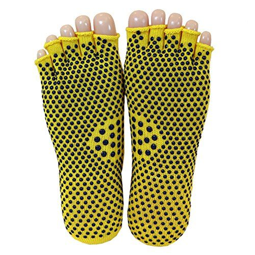 Womens Cotton Half 5-Toe Yoga Socks Short Non Slip Skid Grip Socks (Yellow)
