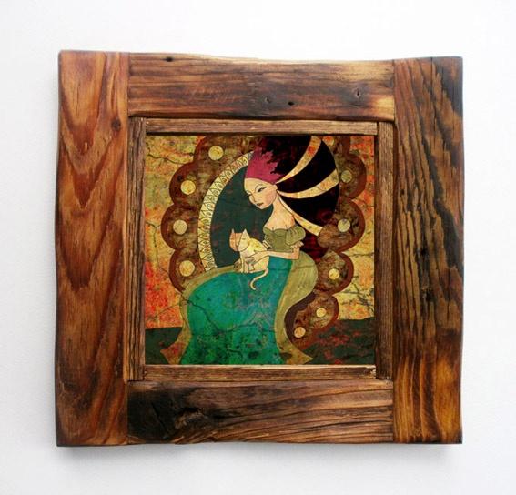 art print illustration in a rustic frame