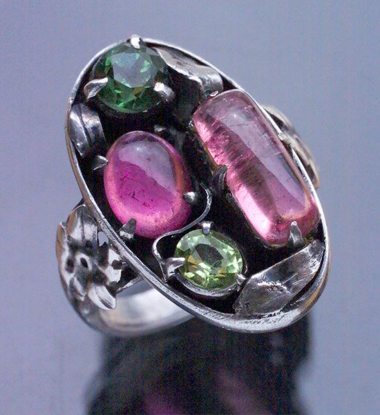 Bernard Instone. Arts and Crafts ring.  Silver and tourmaline. Sold by Tadema Gallery.