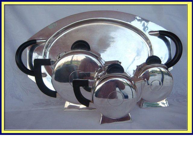 ANTIQUE / VINTAGE DECO SILVER PLATE & BAKELITE TEA SET For Sale   Antiques.com   Classifieds