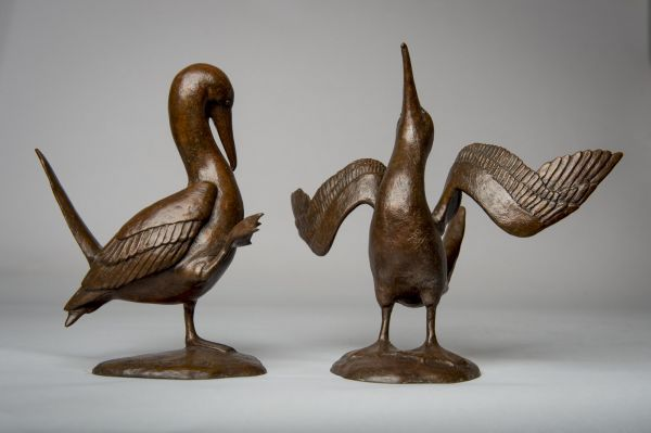 #Bronze #sculpture by #sculptor Anthony Smith titled: 'Blue-footed Booby 2 (Bronze displaying sculptures)'. #AnthonySmith