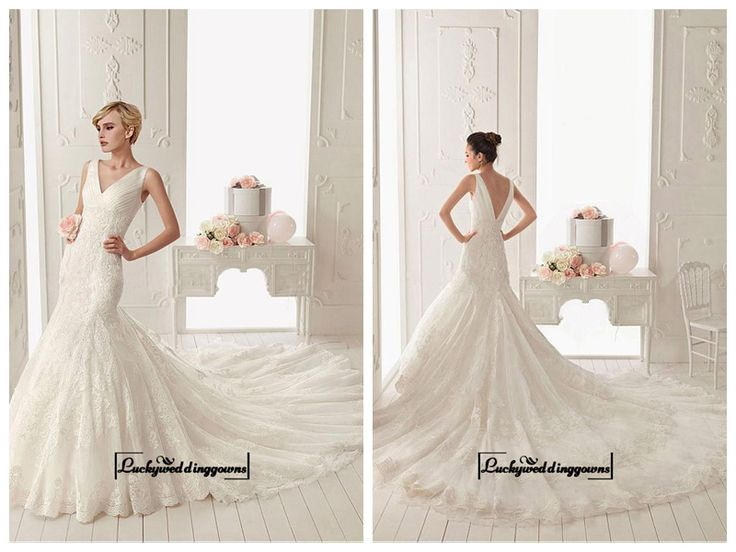 Alluring Tulle with Dots & Satin & Organza Mermaid V-neck Neckline Tank Sleeves Floor-length Wedding Dress with Lace Appliques http://www.ckdress.com/alluring-tulle-with-dots-satin-organza-mermaid-vneck-neckline-tank-sleeves-floorlength-wedding-dress-with-lace-appliques-p-1557.html  #wedding #dresses #party #Luckyweddinggown #Luckywedding #design #style #weddingdresses #bridaldresses #love #me #cute #beautiful #girl #shopping #lovely #clothes #instagood #follow #fashion