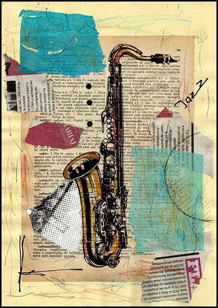 Для, ретро открытка саксофон
