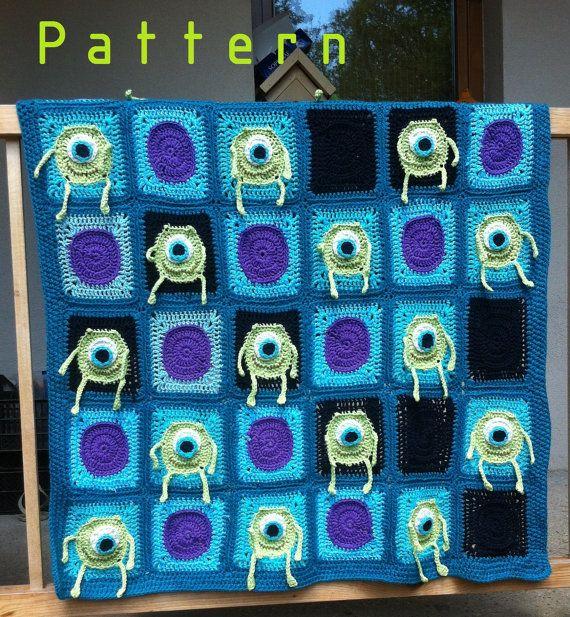 Mr. Mike Wazowski crochet blanket pattern/afghan pattern/Monsters Inc. baby crochet blanket $6.00 USD