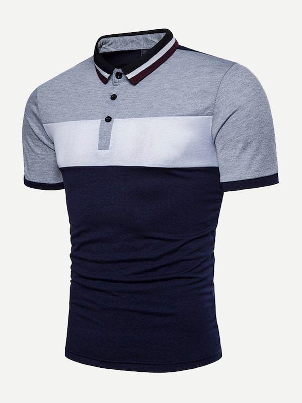 ea903259415 Blusa polo de hombres panel con costuras-Spanish SheIn(Sheinside)