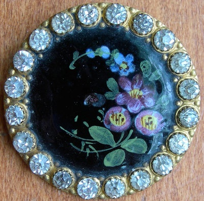Antique Button Emaux Peints Enamel Flowers w/Paste Border