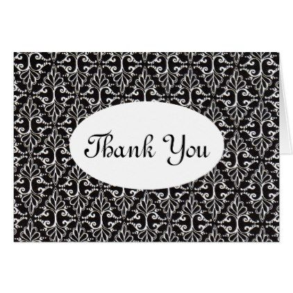 Elegant Scrolled Black White Damask Thank You Card - fancy gifts cool gift ideas unique special diy customize