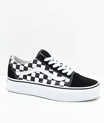 17aab241a0b1 Vans Old Skool Black   White Checkered Platform Skate Shoes