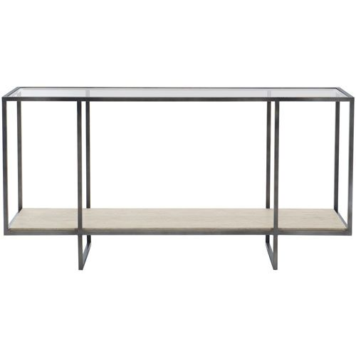 Bernhardt 514910 Freestanding Occasional Bronze White Travertine Stone And Clear 60 Inch Cons Metal Console Table Metal Console Modern Accent Tables