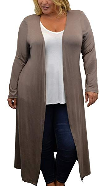 Urban Rose Womens Plus Size Cardigan with Long Duster Length