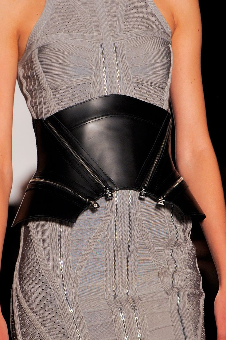 Hervé Léger by Max Azria at New York Fashion Week Spring 2014 // Play-on-corset... love it!