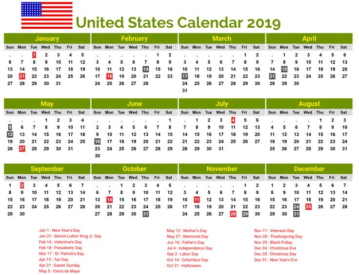 United States 2019 Printable Calendar Download National