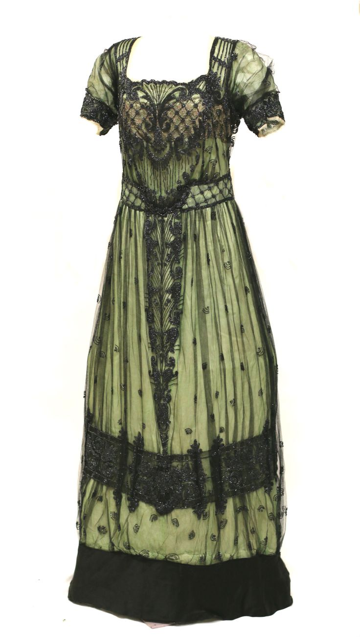 IT'S ALL IN THE DETAILS  Just a close up of the back and front of this great beaded dress.  Dress, ca 1910, Silk