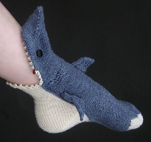 Shark Socks || The little drop of blood makes this... | this thing makes me want to learn how to knit!