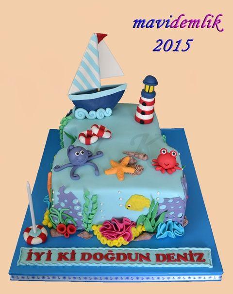 mavi demlik mutfağı- izmir butik pasta kurabiye cupcake tasarım- şeker hamurlu-kur: DENİZ'İN 1. YAŞ DENİZ TEMALI DOĞUM GÜNÜ PASTASI VE...