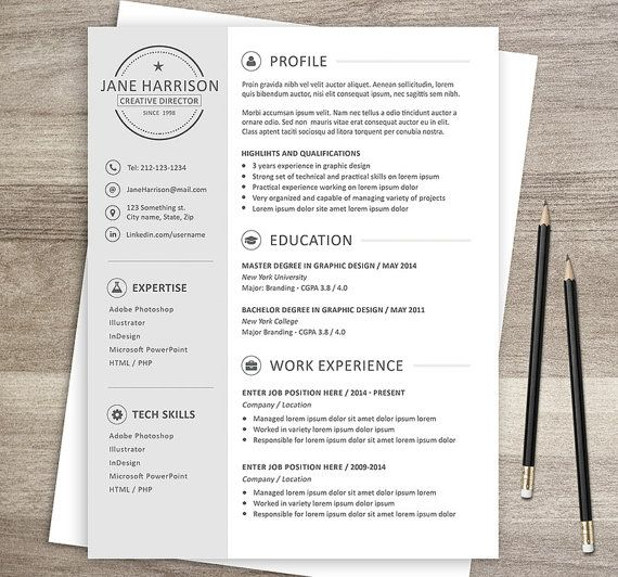 16 best curriculum vitae images on Pinterest Curriculum, Cv - one page resume template word