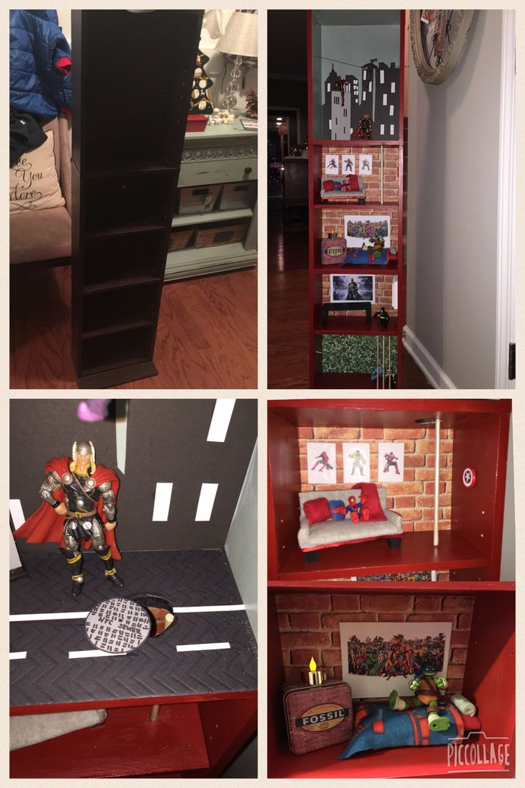 Diy Superhero House Media Cabinet Turned Into Dollhouse